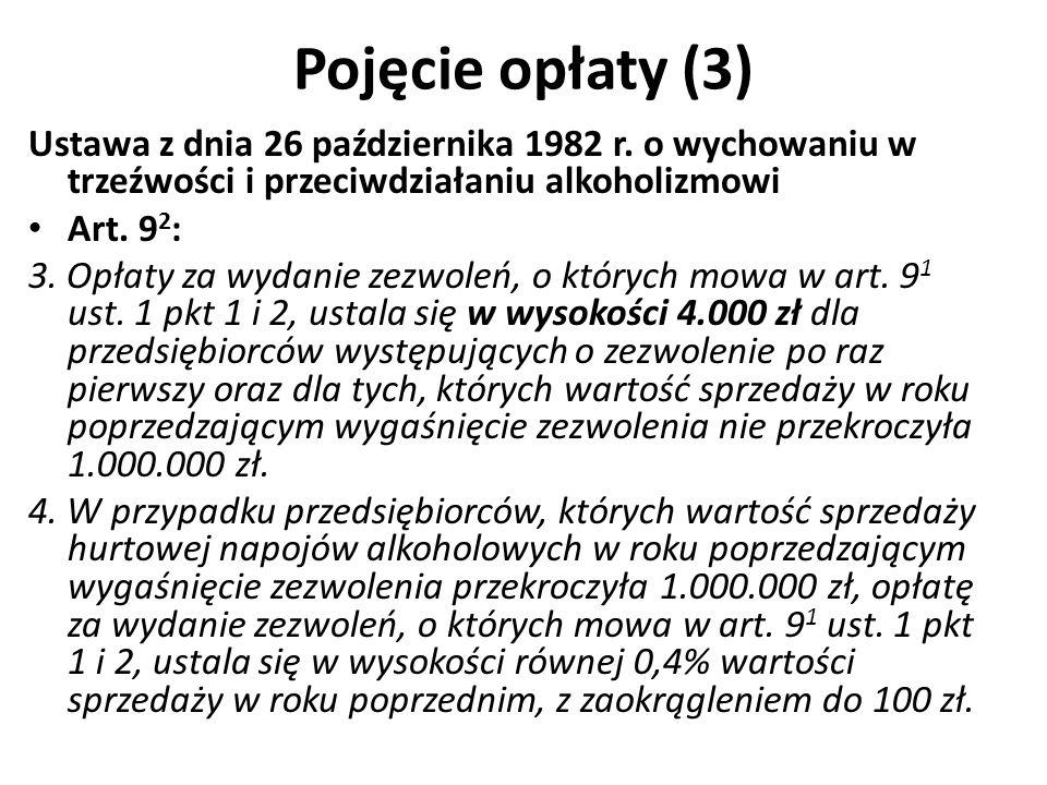 Pojęcie opłaty (3) Ustawa z dnia 26 października 1982 r. o wychowaniu w trzeźwości i przeciwdziałaniu alkoholizmowi.