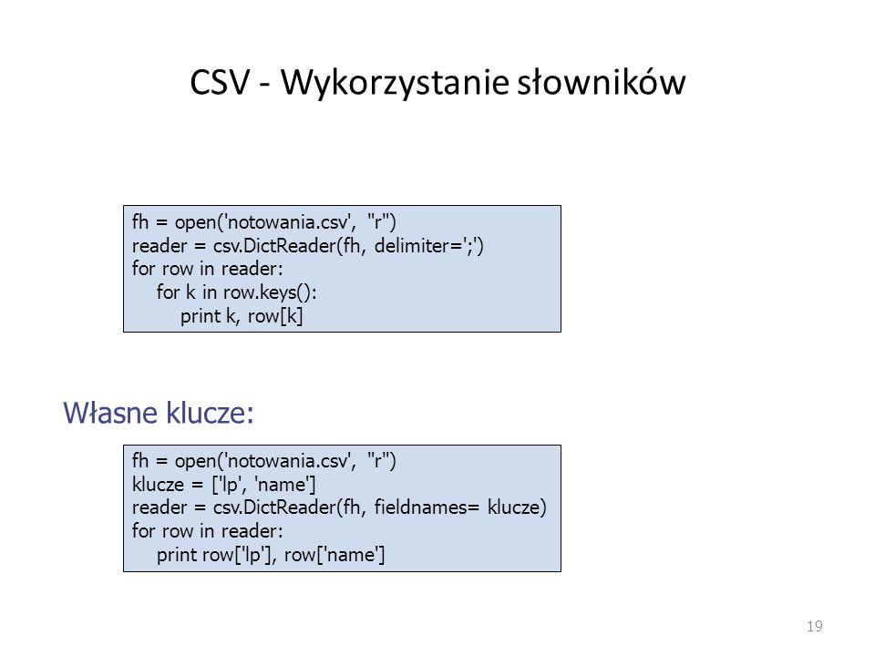 CSV - Wykorzystanie słowników