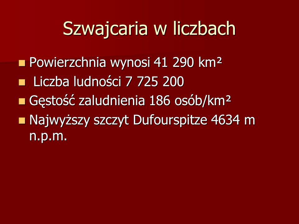 Szwajcaria w liczbach Powierzchnia wynosi 41 290 km²