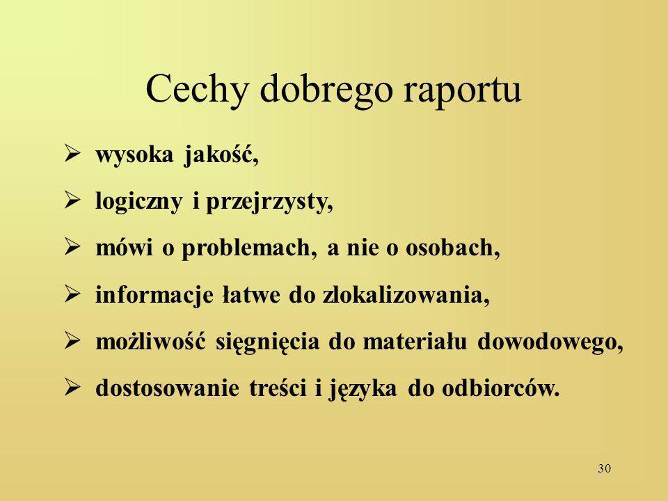 Cechy dobrego raportu wysoka jakość, logiczny i przejrzysty,