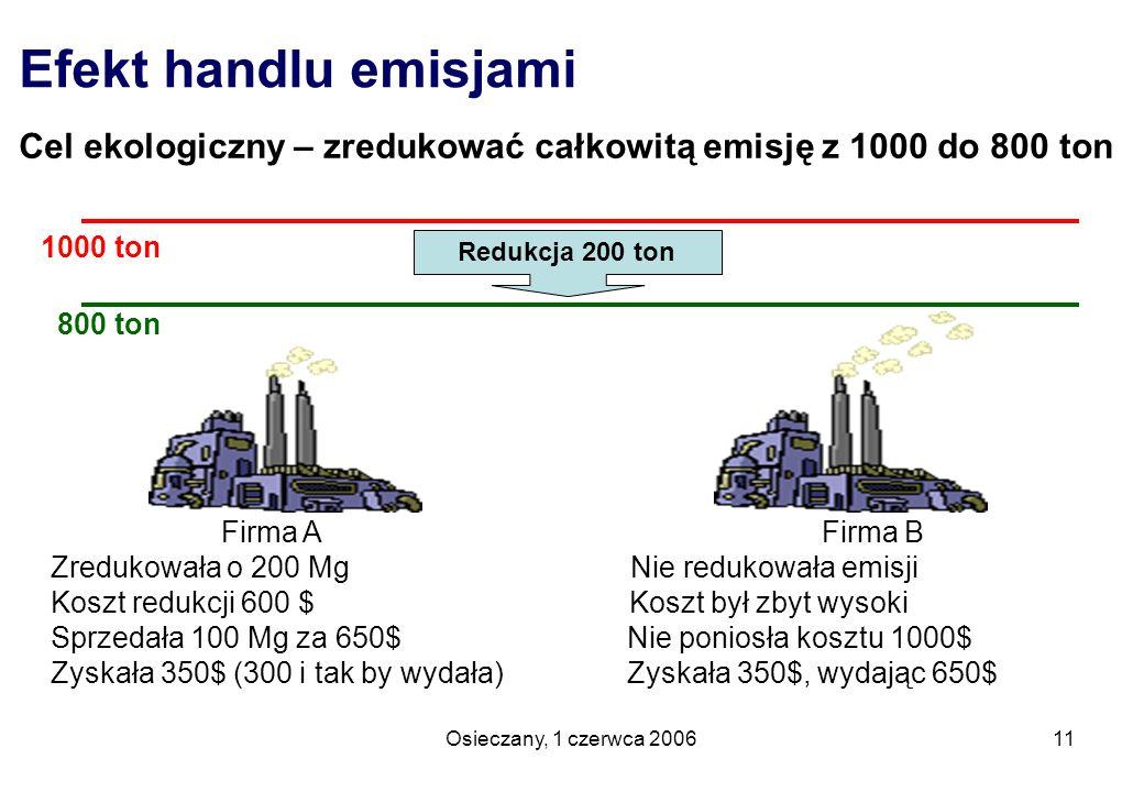 Efekt handlu emisjami Cel ekologiczny – zredukować całkowitą emisję z 1000 do 800 ton. 1000 ton. 800 ton.