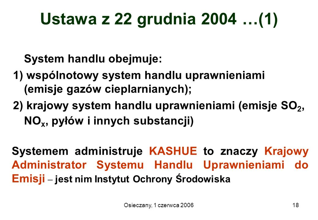 Ustawa z 22 grudnia 2004 …(1) System handlu obejmuje: