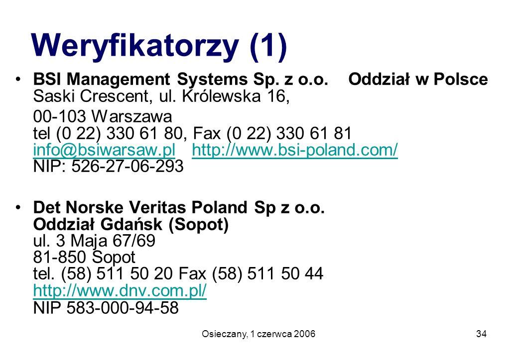 Weryfikatorzy (1) BSI Management Systems Sp. z o.o. Oddział w Polsce Saski Crescent, ul. Królewska 16,