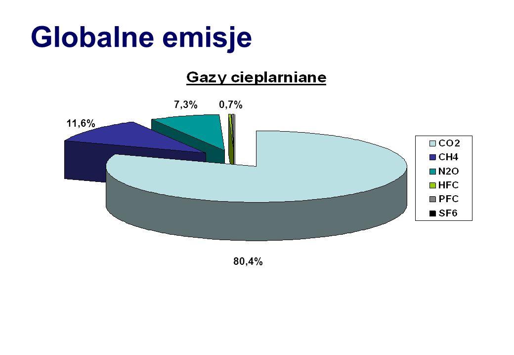 Globalne emisje 7,3% 0,7% 11,6% 80,4%
