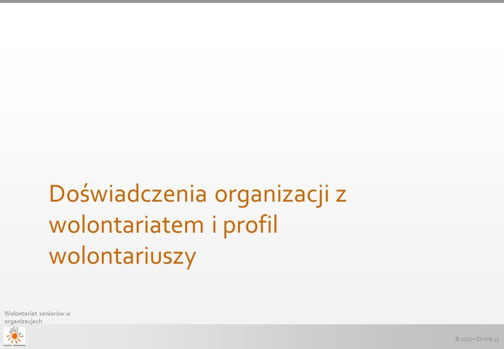 Doświadczenia organizacji z wolontariatem i profil wolontariuszy