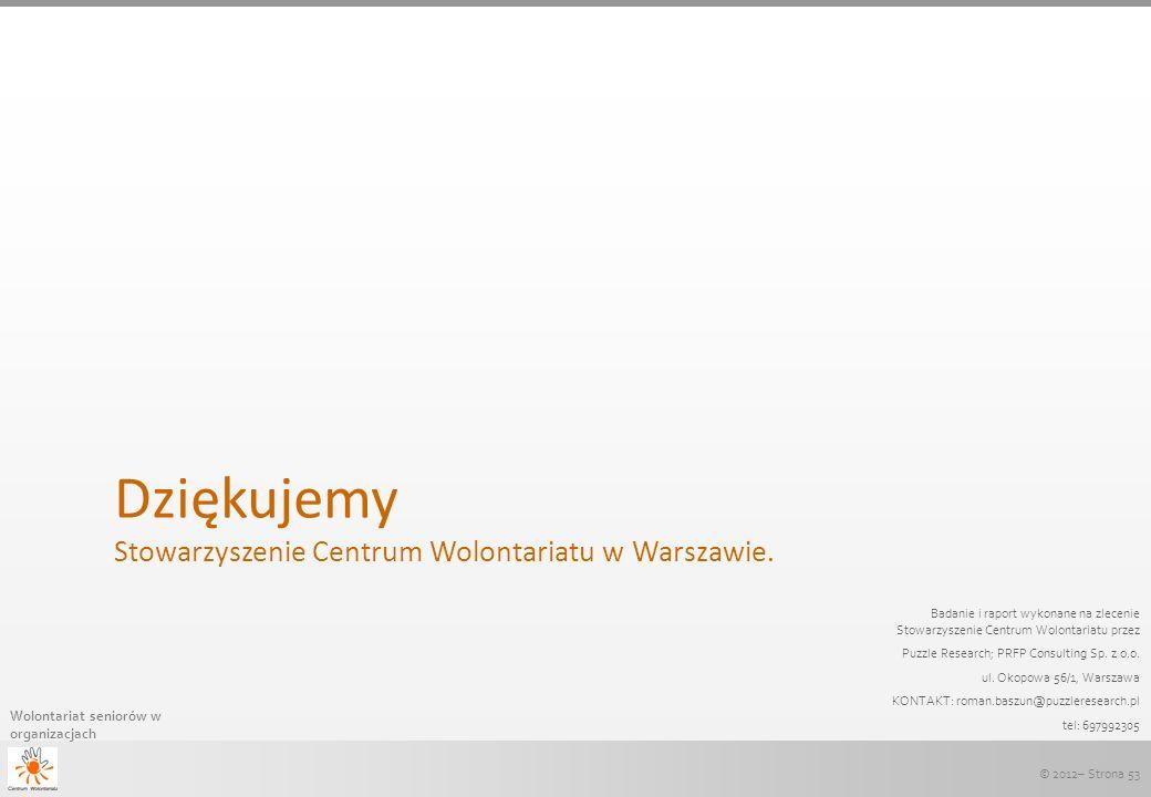 Dziękujemy Stowarzyszenie Centrum Wolontariatu w Warszawie.