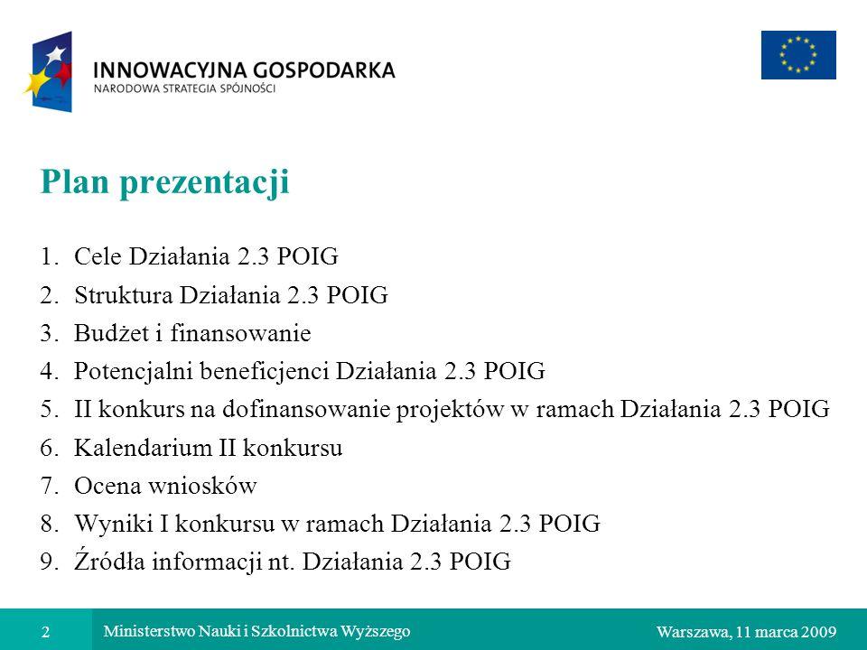 Plan prezentacji Cele Działania 2.3 POIG Struktura Działania 2.3 POIG