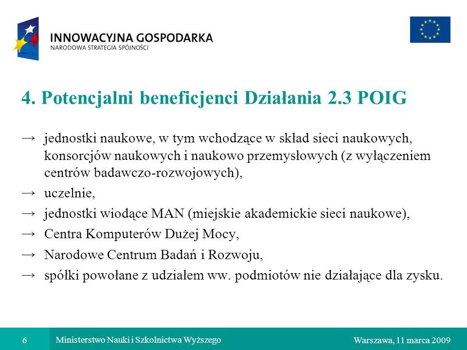 4. Potencjalni beneficjenci Działania 2.3 POIG