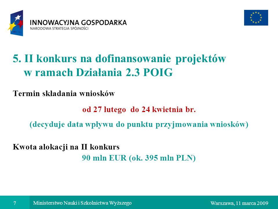 5. II konkurs na dofinansowanie projektów w ramach Działania 2.3 POIG