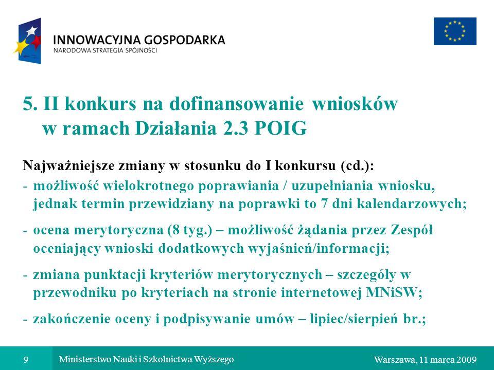5. II konkurs na dofinansowanie wniosków w ramach Działania 2.3 POIG