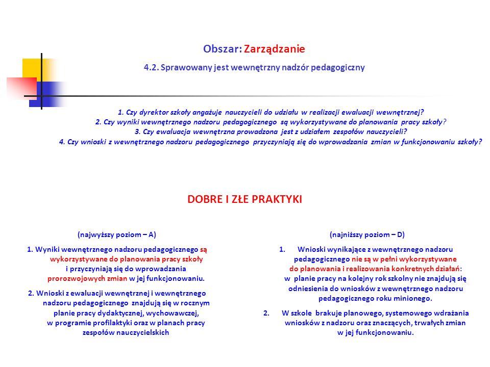 4.2. Sprawowany jest wewnętrzny nadzór pedagogiczny