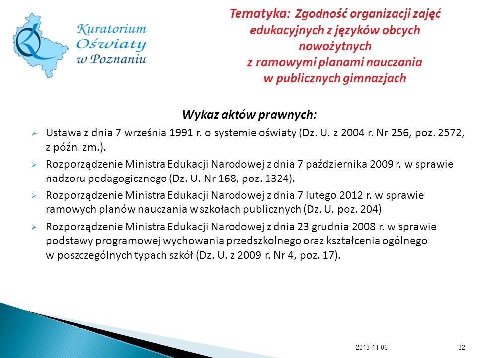Tematyka: Zgodność organizacji zajęć edukacyjnych z języków obcych nowożytnych z ramowymi planami nauczania w publicznych gimnazjach