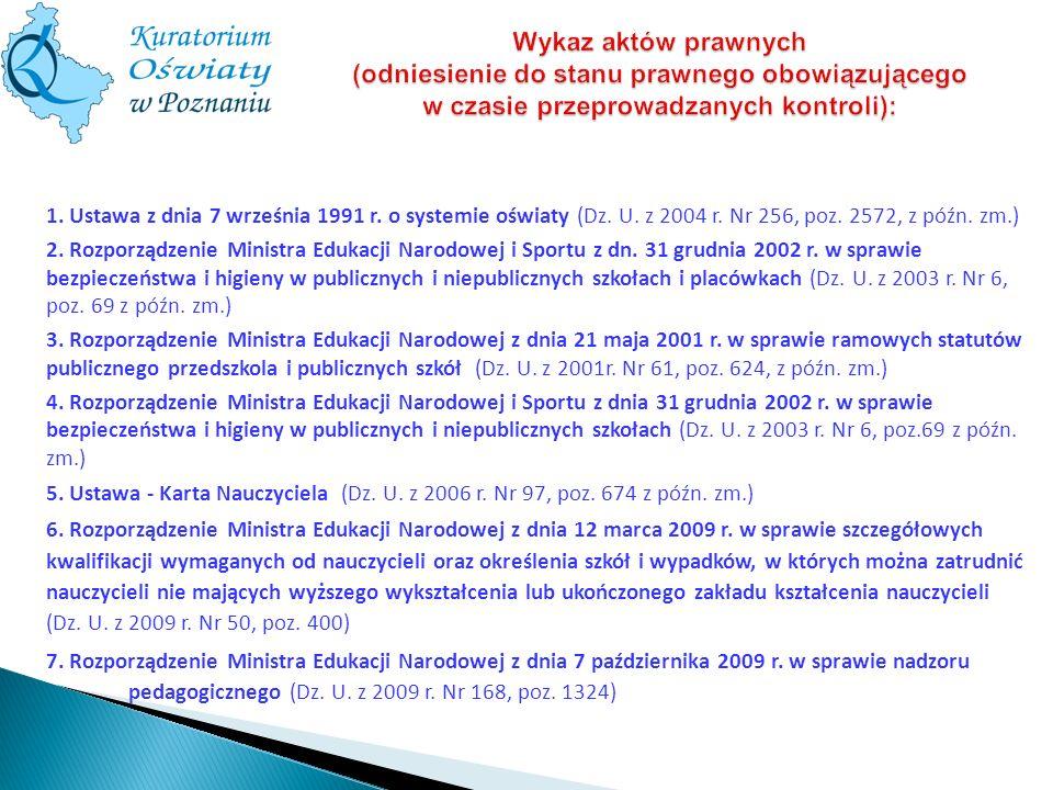 Wykaz aktów prawnych (odniesienie do stanu prawnego obowiązującego w czasie przeprowadzanych kontroli):