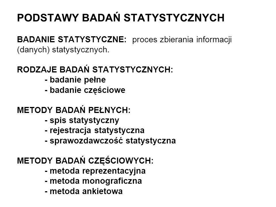 PODSTAWY BADAŃ STATYSTYCZNYCH BADANIE STATYSTYCZNE: proces zbierania informacji (danych) statystycznych.