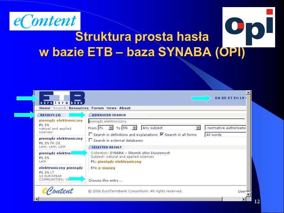 Struktura prosta hasła w bazie ETB – baza SYNABA (OPI)