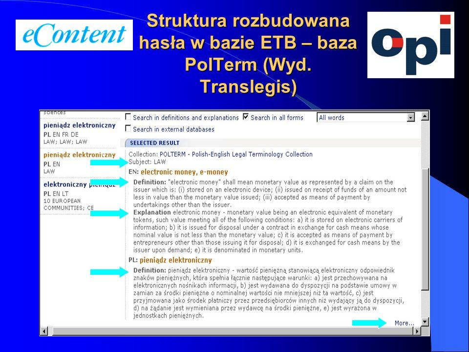Struktura rozbudowana hasła w bazie ETB – baza PolTerm (Wyd