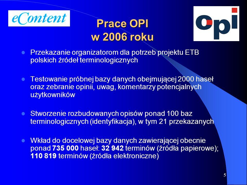 Prace OPI w 2006 roku Przekazanie organizatorom dla potrzeb projektu ETB polskich źródeł terminologicznych.
