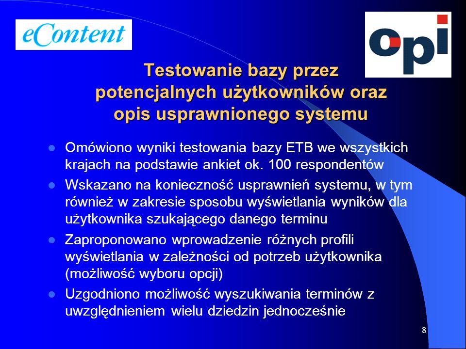 Testowanie bazy przez potencjalnych użytkowników oraz opis usprawnionego systemu