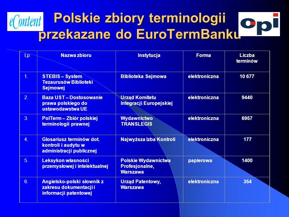 Polskie zbiory terminologii przekazane do EuroTermBanku
