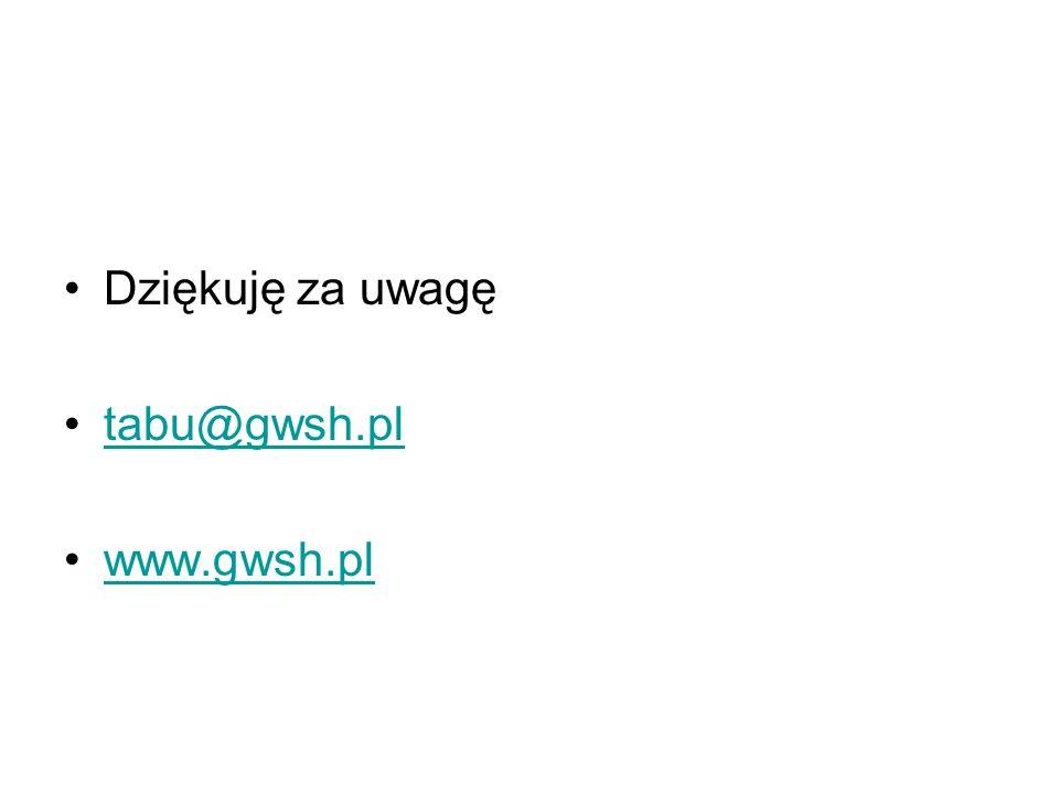 Dziękuję za uwagę tabu@gwsh.pl www.gwsh.pl