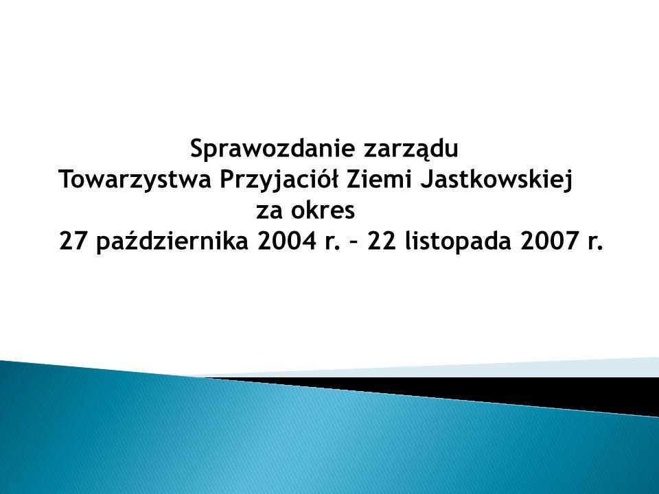 Sprawozdanie zarząduTowarzystwa Przyjaciół Ziemi Jastkowskiej.