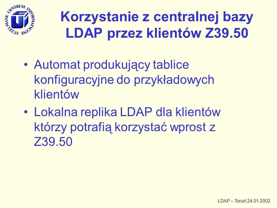 Korzystanie z centralnej bazy LDAP przez klientów Z39.50