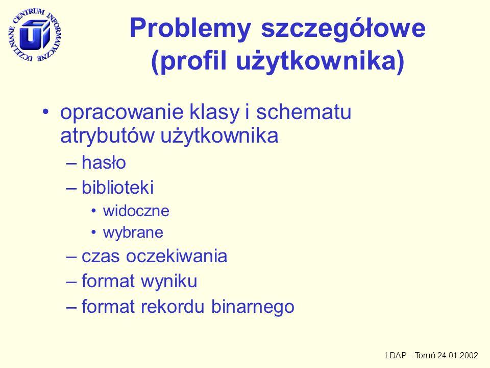Problemy szczegółowe (profil użytkownika)
