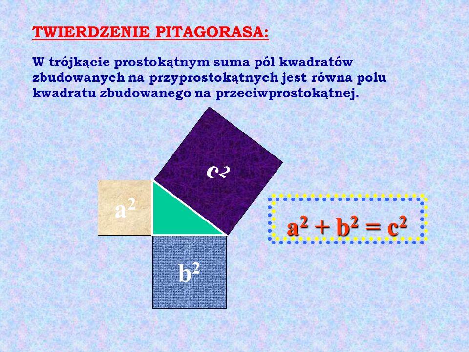 c2 a2 a2 + b2 = c2 b2 TWIERDZENIE PITAGORASA: