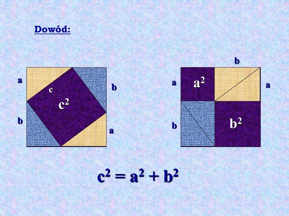 Dowód: b a a2 a a b c c2 b b2 b a c2 = a2 + b2