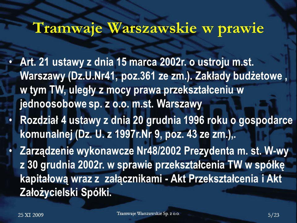 Tramwaje Warszawskie w prawie