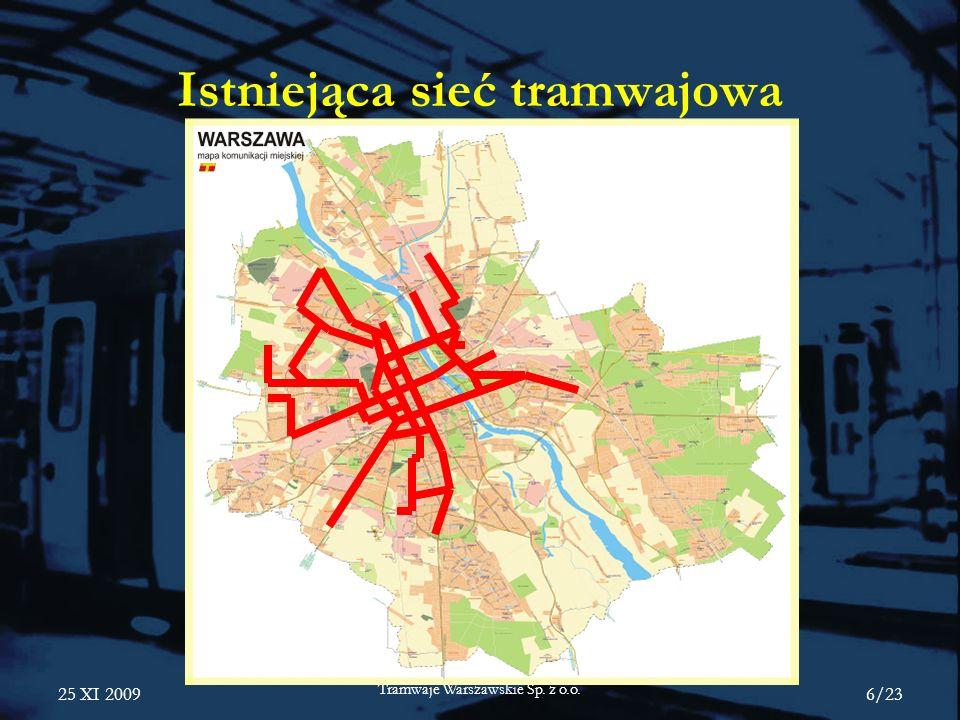 Istniejąca sieć tramwajowa