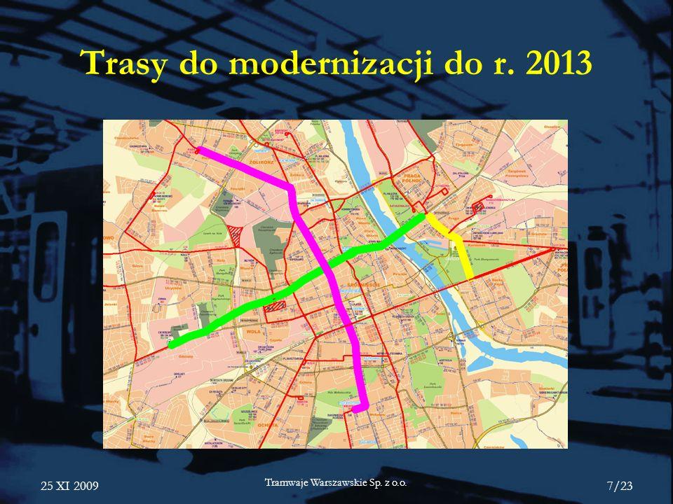 Trasy do modernizacji do r. 2013