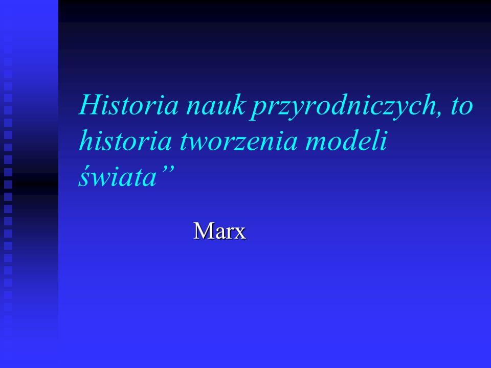 Historia nauk przyrodniczych, to historia tworzenia modeli świata