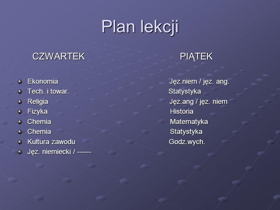 Plan lekcji CZWARTEK PIĄTEK Ekonomia Jęz.niem / jęz. ang.