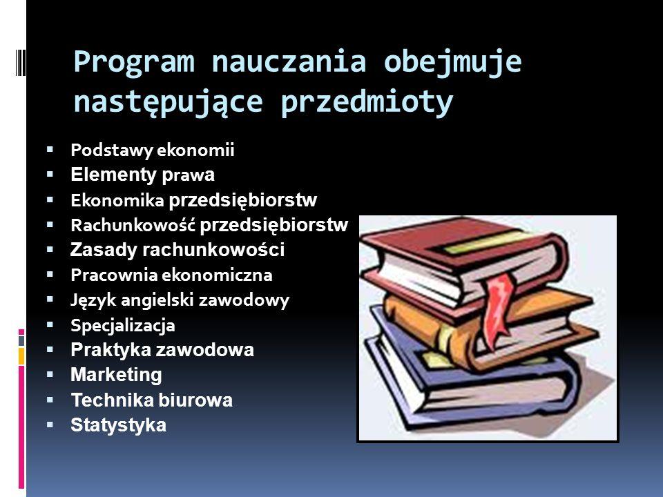 Program nauczania obejmuje następujące przedmioty