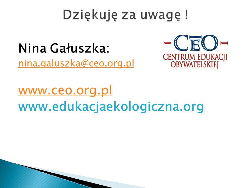 Dziękuję za uwagę ! Nina Gałuszka: www.ceo.org.pl