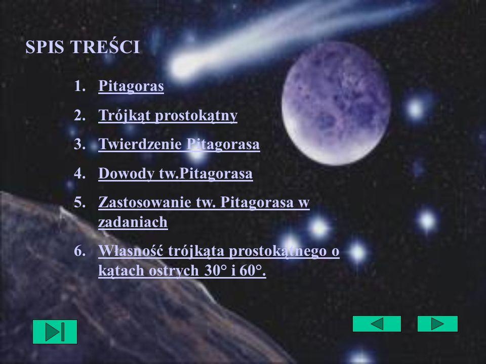 SPIS TREŚCI Pitagoras Trójkąt prostokątny Twierdzenie Pitagorasa