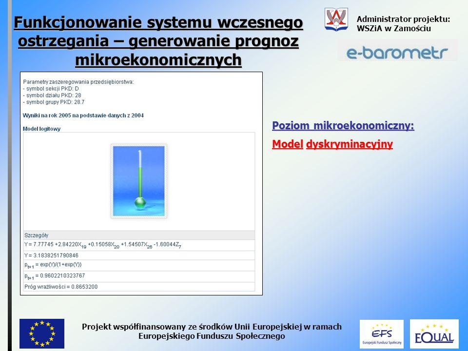 Funkcjonowanie systemu wczesnego ostrzegania – generowanie prognoz mikroekonomicznych