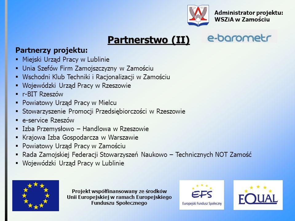 Partnerstwo (II) Partnerzy projektu: Miejski Urząd Pracy w Lublinie