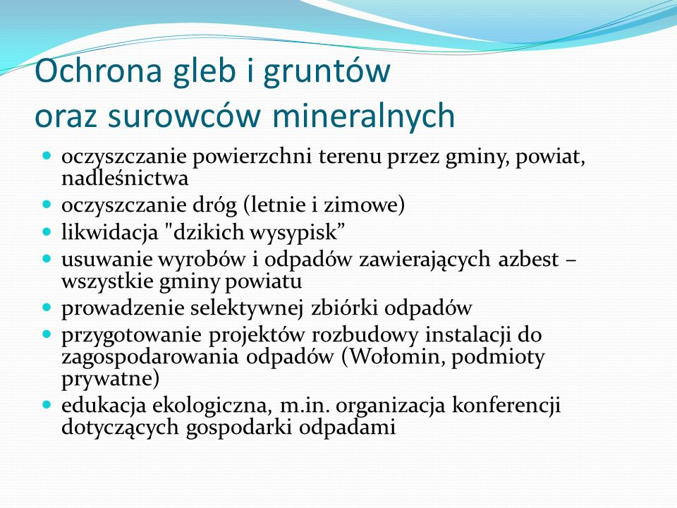 Ochrona gleb i gruntów oraz surowców mineralnych