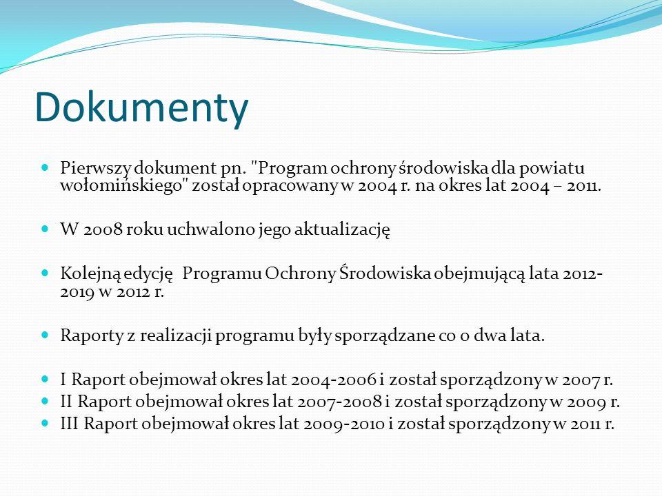 Dokumenty Pierwszy dokument pn. Program ochrony środowiska dla powiatu wołomińskiego został opracowany w 2004 r. na okres lat 2004 – 2011.