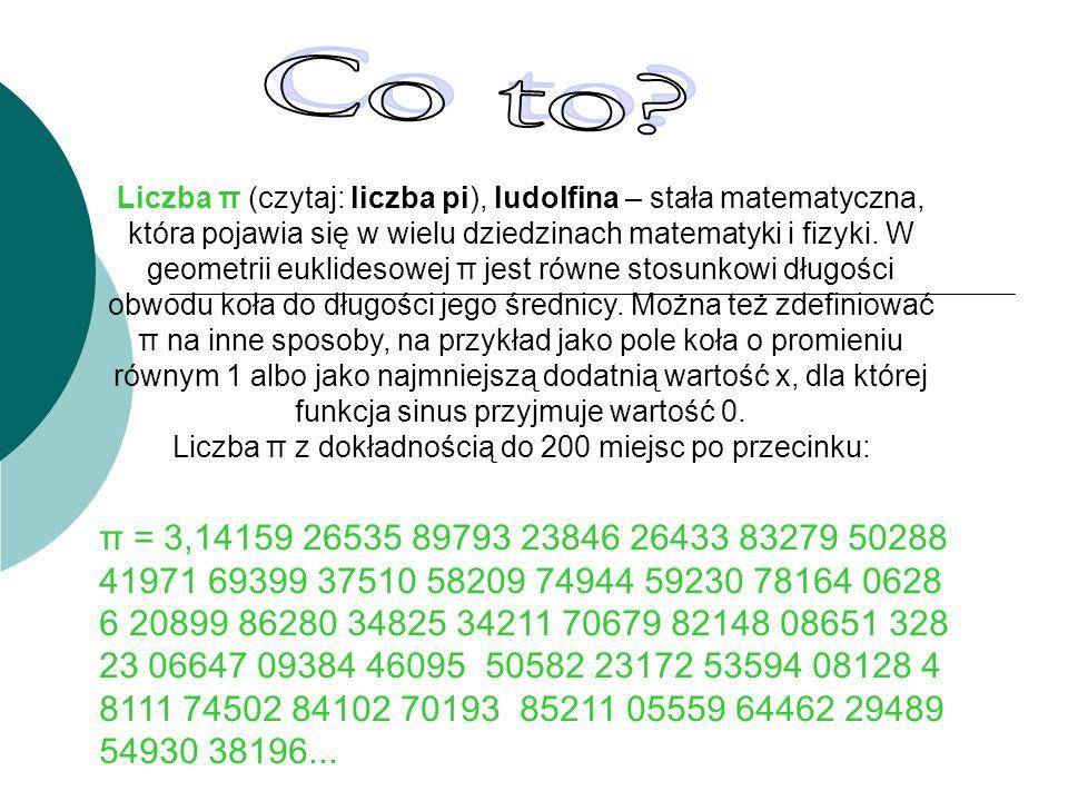Liczba π z dokładnością do 200 miejsc po przecinku: