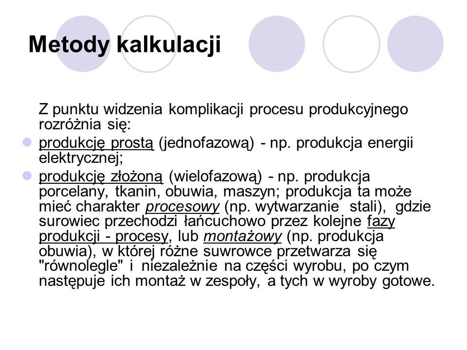 Metody kalkulacjiZ punktu widzenia komplikacji procesu produkcyjnego rozróżnia się: