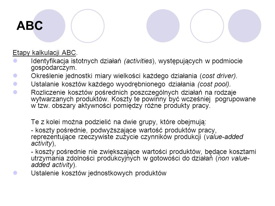 ABC Etapy kalkulacji ABC.