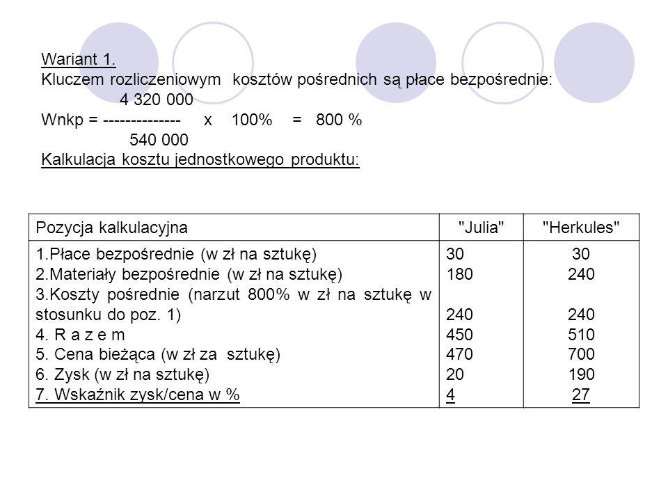 Wariant 1.Kluczem rozliczeniowym kosztów pośrednich są płace bezpośrednie: 4 320 000. Wnkp = -------------- x 100% = 800 %
