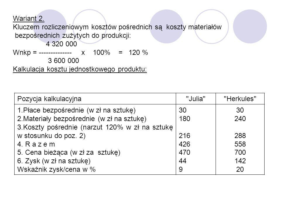Wariant 2. Kluczem rozliczeniowym kosztów pośrednich są koszty materiałów bezpośrednich zużytych do produkcji: