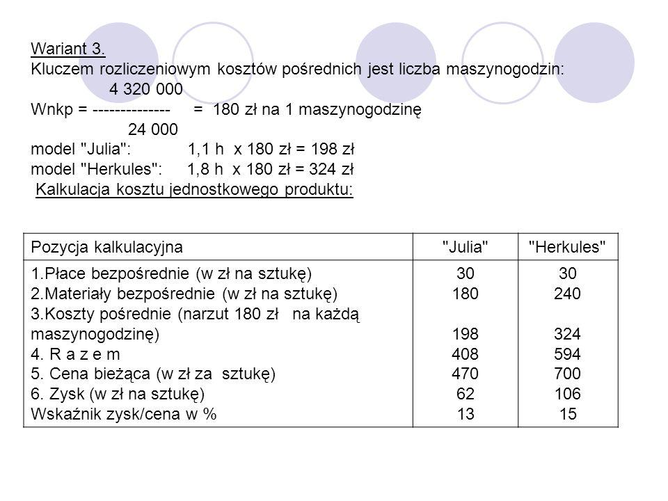 Wariant 3. Kluczem rozliczeniowym kosztów pośrednich jest liczba maszynogodzin: 4 320 000. Wnkp = -------------- = 180 zł na 1 maszynogodzinę.