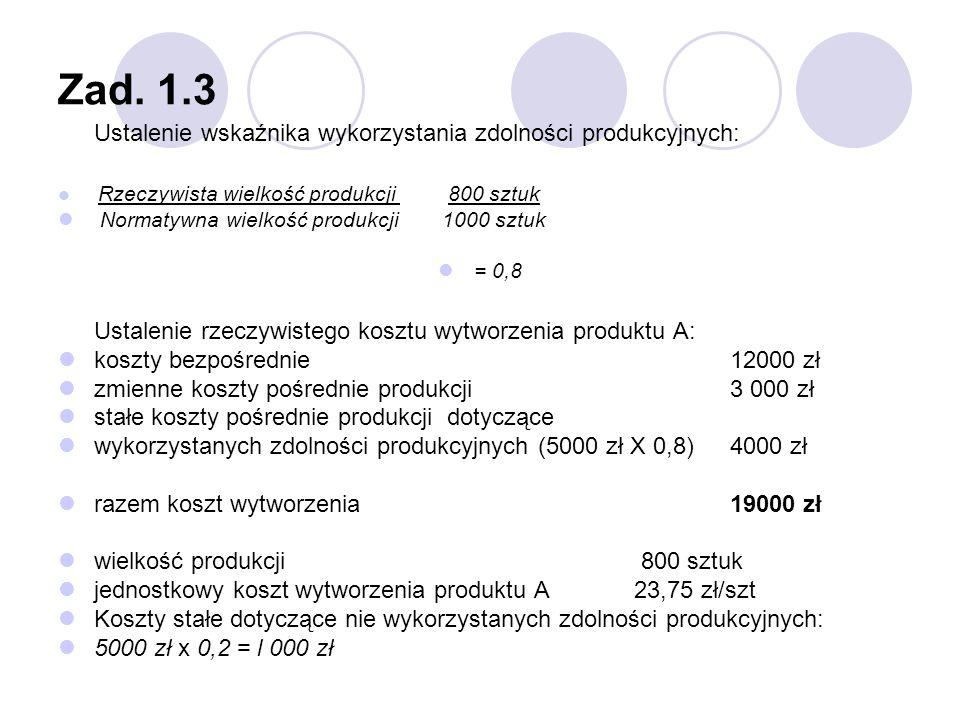 Zad. 1.3 koszty bezpośrednie 12000 zł