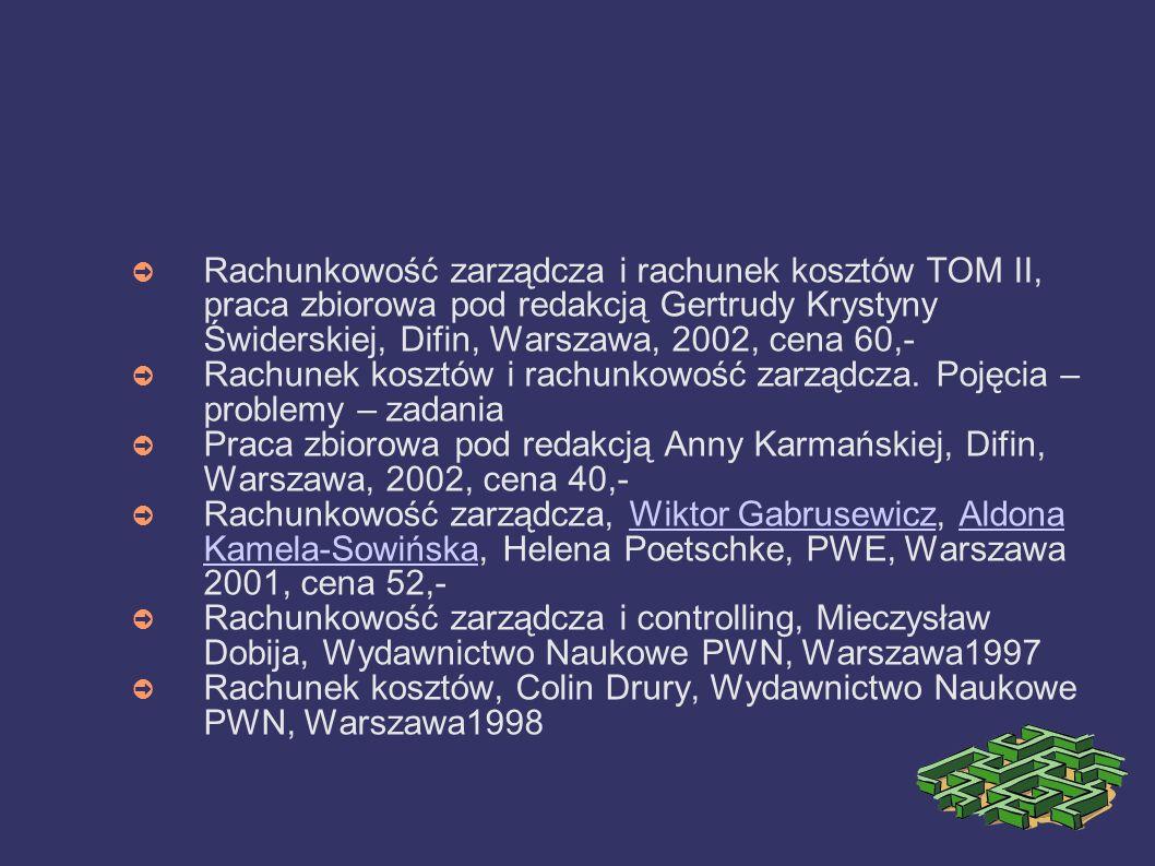 Rachunkowość zarządcza i rachunek kosztów TOM II, praca zbiorowa pod redakcją Gertrudy Krystyny Świderskiej, Difin, Warszawa, 2002, cena 60,-