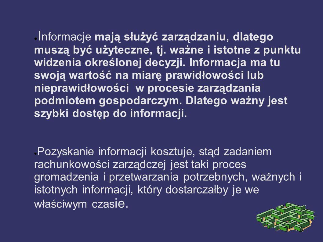 Informacje mają służyć zarządzaniu, dlatego muszą być użyteczne, tj